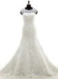 Mermaid Scoop With Train White Wedding Gown Lace Court Train Sleeveless Appliques