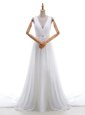 Fantastic Scoop Lace With Train Zipper Wedding Gowns White and In for Wedding Party with Appliques Brush Train