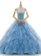 Glittering With Train A-line Sleeveless Baby Blue Wedding Gown Court Train Lace Up