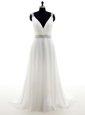 Shining White Sleeveless With Train Beading Zipper Wedding Gowns