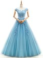Spectacular Floor Length Baby Blue Wedding Gowns V-neck Cap Sleeves Lace Up