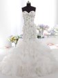 Mermaid Sleeveless White Wedding Gown Brush Train Zipper