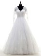 Long Sleeves Clasp Handle Floor Length Beading and Lace and Appliques Bridal Gown
