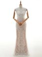 Eye-catching Floor Length Zipper Wedding Gown Champagne and In with Lace