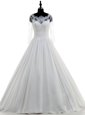 Elegant Scalloped White 3|4 Length Sleeve Chiffon Brush Train Zipper Wedding Gown for Wedding Party