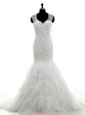 Mermaid With Train White Wedding Gown V-neck Sleeveless Brush Train Clasp Handle