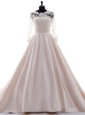 Fancy Pink Clasp Handle Scalloped Beading and Lace Wedding Gown Satin 3|4 Length Sleeve Brush Train