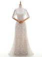 Extravagant White Scoop Neckline Lace Wedding Dress Half Sleeves Clasp Handle