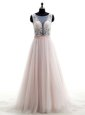 Scoop Pink Sleeveless Brush Train Lace With Train Wedding Dresses