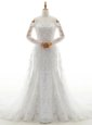 High Quality Off the Shoulder Long Sleeves Lace With Brush Train Lace Up Wedding Dress in White for with Beading and Lace