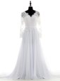 Sweet White V-neck Neckline Lace Bridal Gown Long Sleeves Backless