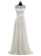 High End Scoop White Empire Lace and Hand Made Flower Wedding Dress Clasp Handle Chiffon Cap Sleeves Floor Length