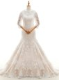 Mermaid Lace Ruffled With Train White Wedding Dress High-neck 3|4 Length Sleeve Court Train Clasp Handle