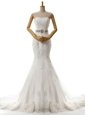 Glittering Mermaid Beading and Lace and Appliques Wedding Gowns White Lace Up Sleeveless With Brush Train