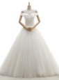 White Tulle Lace Up Off The Shoulder Sleeveless With Train Wedding Dress Court Train Ruching