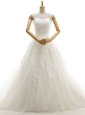 Spectacular White Sleeveless With Train Appliques Lace Up Wedding Gowns