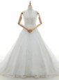 With Train White Wedding Dress Lace Brush Train Sleeveless Appliques