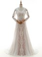 V-neck Long Sleeves Wedding Dress With Brush Train Lace White Lace