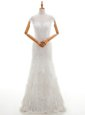 Cap Sleeves Lace and Appliques Lace Up Wedding Gown