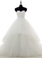 Best White Wedding Gowns Lace Sweep Train Sleeveless Lace and Appliques