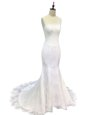 Mermaid Scoop White Zipper Bridal Gown Lace and Appliques Sleeveless With Train Sweep Train
