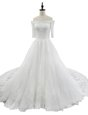 Classical White Off The Shoulder Neckline Lace Wedding Dresses Half Sleeves Zipper