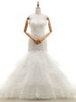 Mermaid White Organza Clasp Handle Wedding Dresses Sleeveless With Brush Train Beading and Lace and Ruffled Layers