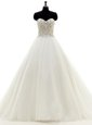 New Style Beading Wedding Dress White Clasp Handle Sleeveless With Brush Train