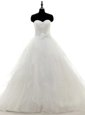 White A-line Sweetheart Long Sleeves Satin and Organza With Train Sweep Train Zipper Pick Ups Wedding Dresses