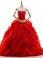 Perfect Red Tulle Lace Up Bridal Gown Sleeveless Brush Train Ruffles and Ruching