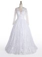 Dynamic Scoop Floor Length White Wedding Gown Lace Long Sleeves Lace