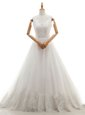 Custom Designed White Sleeveless Organza and Tulle Court Train Zipper Wedding Gown for Wedding Party
