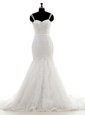 Mermaid White Lace Up One Shoulder Lace Bridal Gown Lace Sleeveless Court Train