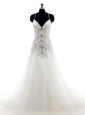 Sleeveless With Train Beading and Lace and Appliques Lace Up Wedding Dress with White Court Train