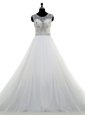 White Sleeveless Brush Train Lace and Bowknot With Train Bridal Gown