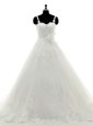 Sumptuous Off the Shoulder Lace Bridal Gown White Clasp Handle Half Sleeves With Brush Train