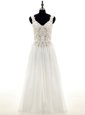 White Chiffon Lace Up V-neck Long Sleeves Floor Length Wedding Gown Beading and Lace and Appliques
