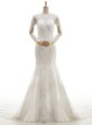 Deluxe Mermaid White V-neck Neckline Lace and Appliques Wedding Gown Long Sleeves Clasp Handle
