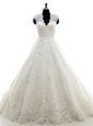 Lace and Appliques Wedding Gown White Clasp Handle Cap Sleeves With Brush Train