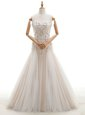Beauteous White Zipper High-neck Lace and Appliques and Bowknot Bridal Gown Organza Sleeveless Court Train