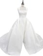 Fashion White Wedding Dresses Wedding Party and For with Ruching Square Sleeveless Court Train Zipper