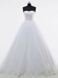 High End White Sleeveless Brush Train Lace and Appliques With Train Bridal Gown