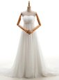 Popular White Lace Up Bridal Gown Beading Sleeveless With Brush Train
