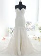 Mermaid White Sweetheart Backless Lace Wedding Gowns Brush Train Sleeveless