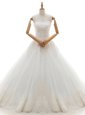 White Sweetheart Lace Up Lace and Appliques Wedding Gowns Brush Train Sleeveless