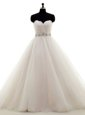 Decent A-line Bridal Gown Champagne Sweetheart Tulle Sleeveless Floor Length Lace Up