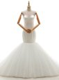 With Train Mermaid Sleeveless White Wedding Gowns Brush Train Lace Up
