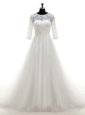 Fitting White Clasp Handle Scoop Lace Bridal Gown Tulle Half Sleeves Brush Train