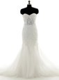 Mermaid Tulle Sweetheart Sleeveless Brush Train Lace Up Lace Wedding Dresses in White