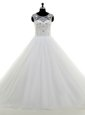 White Off The Shoulder Neckline Ruching Wedding Gowns Sleeveless Lace Up